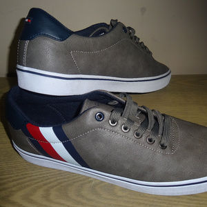 Tommy Hilfiger Mens Paige Leather  Sneaker Gray 9